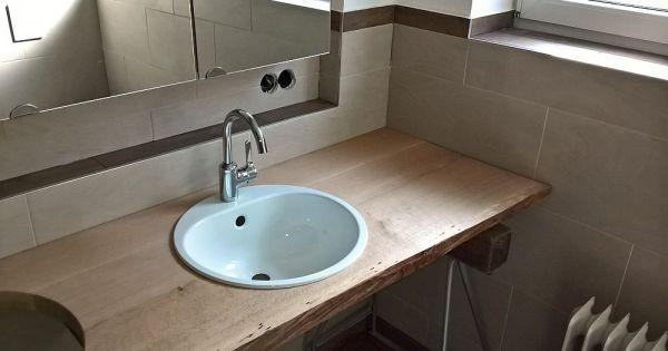 waschtisch mit platte aus eichenbohle und mit waldkante. Black Bedroom Furniture Sets. Home Design Ideas